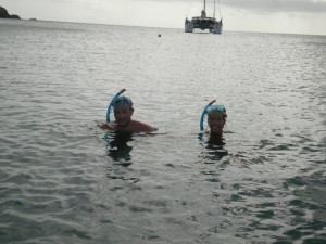 Brian and Sara snorkeling off Colombier