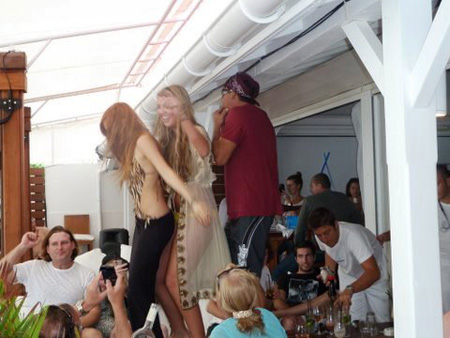 Dancing on the tables at Nikki Beach