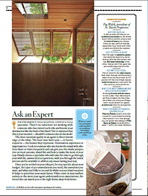 "Page 58: Rain shower at Villa Palm Beach and ""From the Expert"" sidebar"