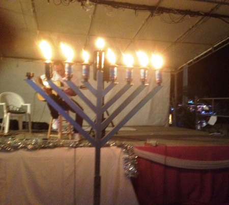 Hanukkah celebration on the quai  in St. Barts December 26 2011