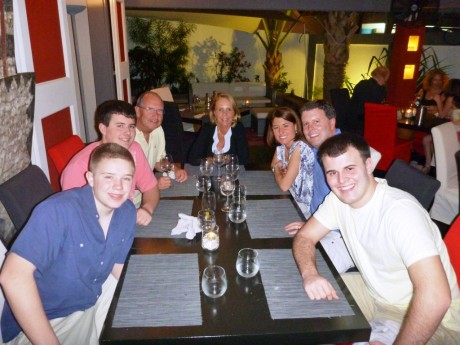 L to R Friend Tommy Rae, Tyler Smyth, Steve and Peg Walsh, Amy,Tom. and Tommy Smyth Jr. at  Le Massai Feb 2012