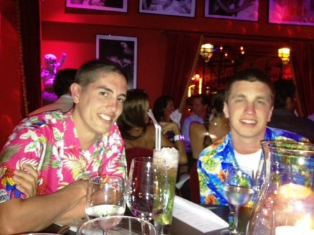 Matt (left) and Andrew bought flowered shirts for their eveing at Le Ti St. Barth