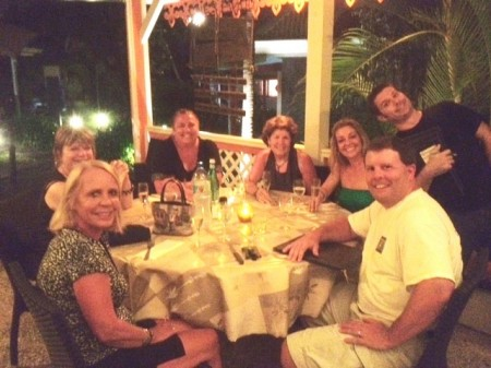 Our first night at Andy's Hideaway  Left to right Peg Walsh, Connie Walsh, Julia Hurd, Kathy Schlitzer, Kim DiMascio, our great waiter Franck and Tom Smyth
