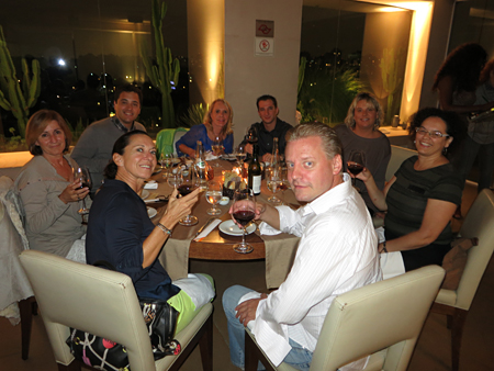 Dining with my colleagues: From center:  Sebastien Maingourd – Hotel Christopher, Sabine Masseglia – Hotel Guanahani; Pascale Minarro- St Barth Properties St Barth office; Gonzalo Pena – Hotel K2 in Courchevel; Peg; Aymeric Bourdin – Hotel Tom Beach; Anne Dentel – St. Barth Tourism Committee; Christiane Chabez – Brazil's' rep for St. Barth Tourism