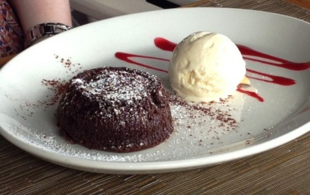 Fondant au Chocolat (Warm Chocolate Cake with a runny chcoolate center) at the Santa Fe