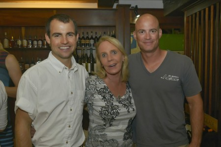 Peg with Luke Ramsay (L) and John Casey (R) at our St. Barth Properties Beaujolais Nouveau party November 20, 2013