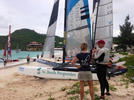 John Casey giving an interview during the St. Barth CataCup 2013