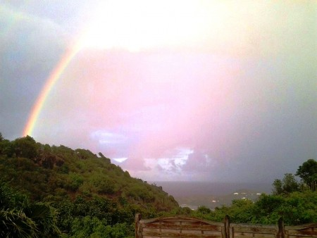 A pretty rainbow appeared in  the view from our villa  Les Mouettes that morning