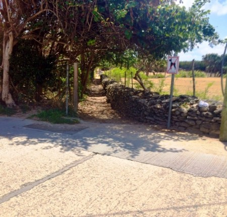 Take this path to the left of the parking area to get to the shoreline leading to the Natural Pools and Washing Machine