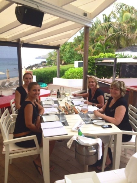 St Barth Properties on island Concierge Magda Votava (left rear), Casa Flamands restaurant manager Alexandra Ruiz (left front) join Connie (right front) and me at the tasting