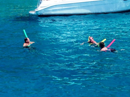 We anchored off of Colombier Beach and jumped into the gorgeous water with our noodles