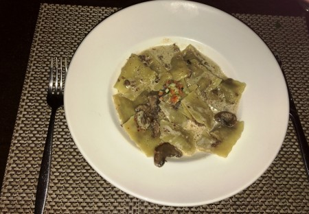 The New Creation of Chef Julien is Beef Ravioli with Mushroom Sauce.  The Recipe is Top Secret.