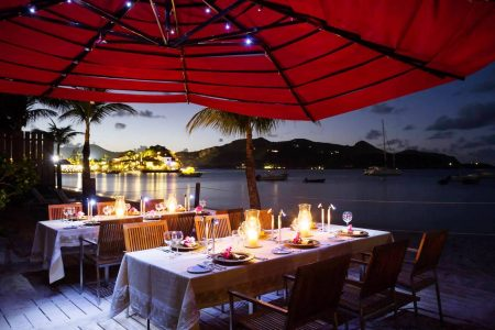 Guests can enjoy outdoor dining by the sea