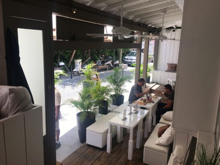 Sidewalk cafe dining or take away at the St. Barts Food Lounge