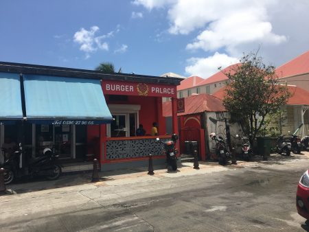 The Burger Palace is across from the Gustavia post office
