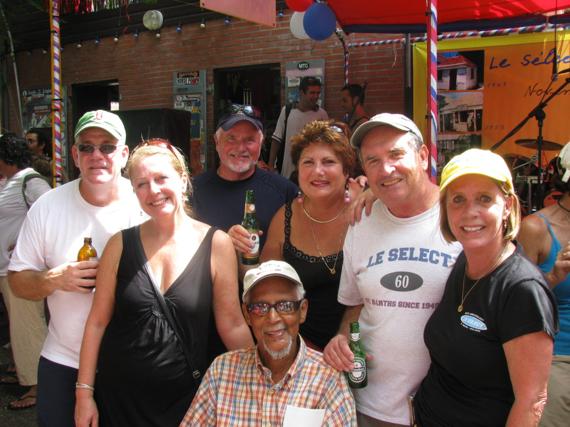 Peg (at right) and friends with Marius (in front), owner of Le Select