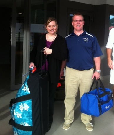 Mark and Cynthia ouside of arrival hall