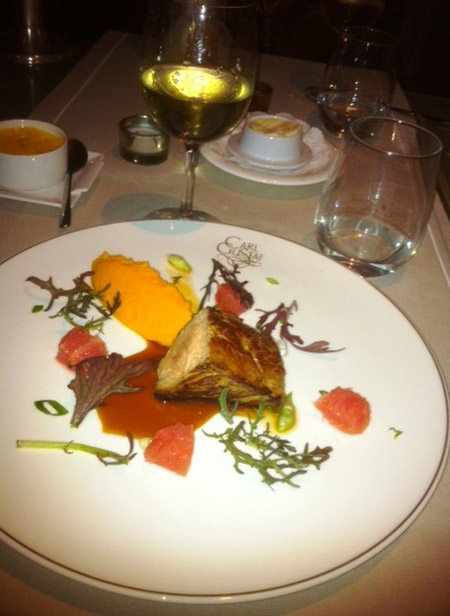 Veal with pink grapefruit sauce and carrot mousseline