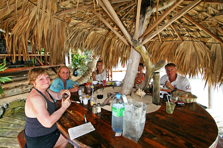 Connie,-Peg,-Magda,-Anne-and-Benoit-enjoying-lunch-at-Pinel-Island