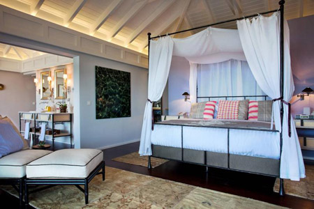 Master bedroom in the Serenity Suite