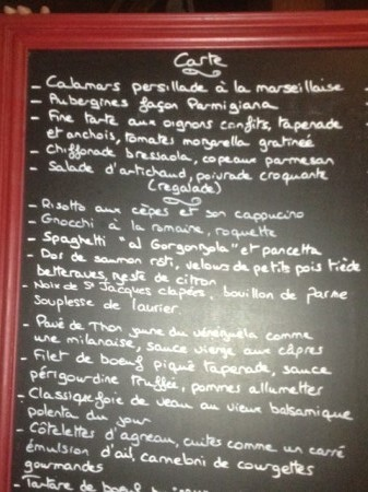 Harbour's blackboard menu