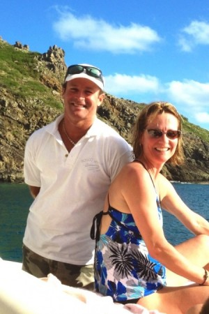Bosco Yacht's skipper Olivier with Kim after she snorkeled at La Forchue island