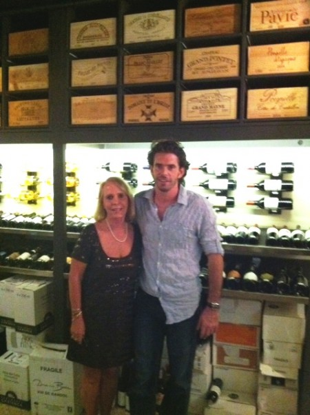 Peg with Jean Baptiste Barre in the Wine Cellar at Le Bistroy