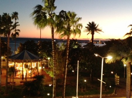 Sunset view from my room at the Majestic Hotel in Cannes