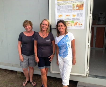 Connie, Peg and Hélène in front of the St. Barth Essentiel office on the top of Gustavia