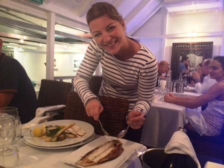 Vanessa prepares my Sole Meunière at Océan Restaurant