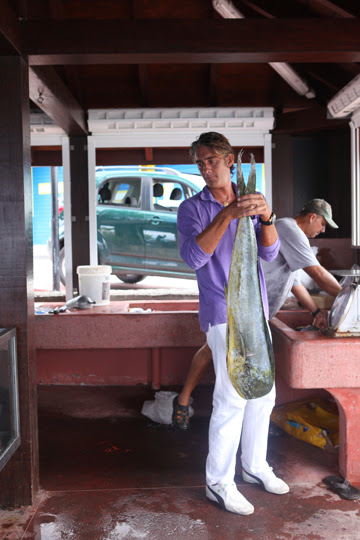 Chef Jean Claude Dufour at the local fish market in Gustavia, Looks like the fish of the day will be Mahi Mahi