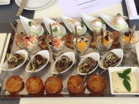 Canapé tasting for the annual St. Barth Properties Beachside Soirée