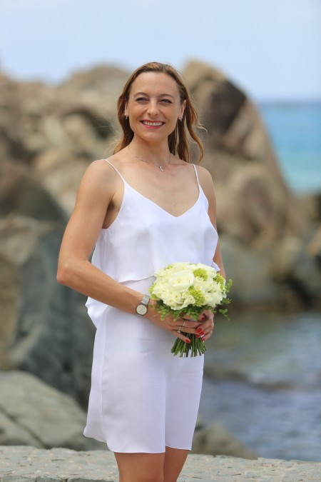 The beautiful bride is our fabulous St. Barth Properties Sotheby's International Realty on-island office Concierge, Magda Votava photo : François Vochelle