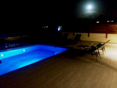 We watched the solar heated pool at Brume de Mer change colors under the full moon while we were there. This blue one is my favorite.