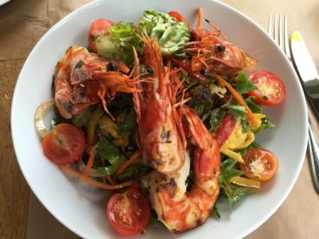 Thai Salad with prawns and ginger dressing