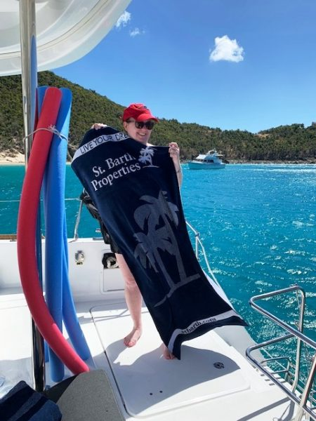 743c4091fb4b5 Loved using the SBP beach towels that our guests also use when on a St.  Barth Sailor catamaran trip.